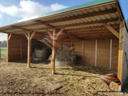 Weidehütte mit Fressgitter Offenställe Weideunterstand