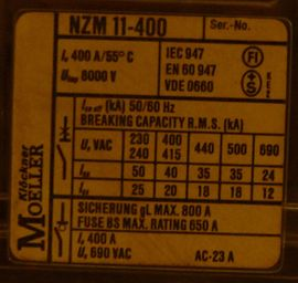 Elektro, Heizungen, Wasserinstallationen - Leistungsschalter Klöckner Moeller NZM11-400 mit