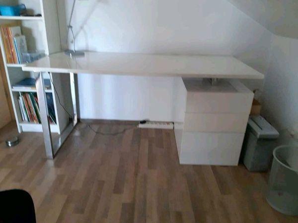Büro Schreibtisch Weiß Hochglanz Chrom