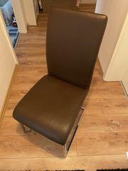4 Stühle Echtleder - Farbe Braun -