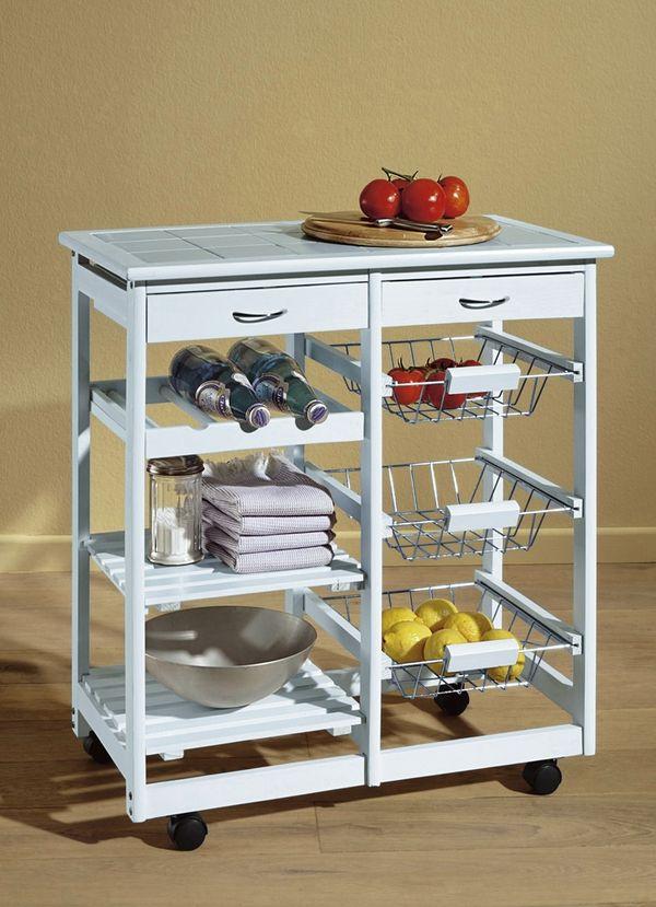 Küchenwagen Holz weiß groß Arbeitshilfe Küchentrolly ...