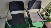 2 Balkonstühle rattan Metall