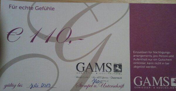 110 Gutschein Hotel Gams Geniesser