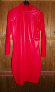 Heißes rotes Latex Kleid Gummi