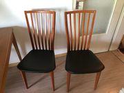 4 Stühle Holz Kunstleder gut