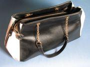 große Damenhandtasche schwarz weiß