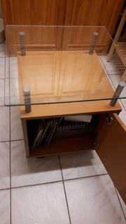 Rolltisch in Echtholz mit Glasplatte