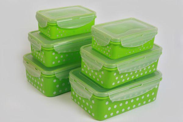 Frischhaltedosen-Set Vorratsdosen Kunststoff Klick-It grün gepunktelt gebraucht