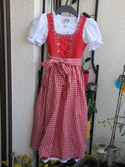 Kinderdirndl rot-weiß Gr 128