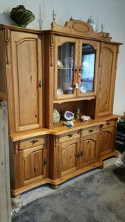 Wohnzimmerschrank mit Glasvitrinenaufsatz Kiefer geölt