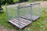 2 Euro-Gitterboxen eine Längsseite halb