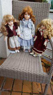 Hochwertiges bezauberndes Porzellan-Puppen-Trio