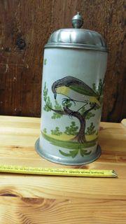 Antiker Bierkrug mit Zinndeckel und