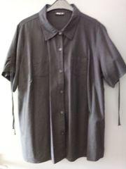 Leinen-Bluse schwarz Gr 2XL mit