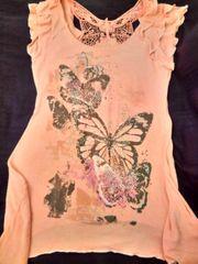 Hübsches Longshirt mit Schmetterlingsdruck Pailletten