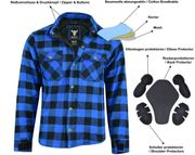 Motorradhemd Kevlar Blau Schwarz