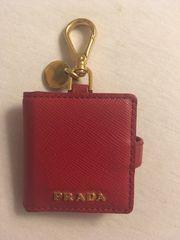 Prada Taschenanhänger Rot GoldSaffiano Leder
