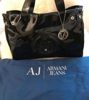 Armani Tasche schwarz Lack