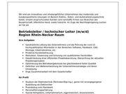 Betriebsleiter technischer Leiter m w