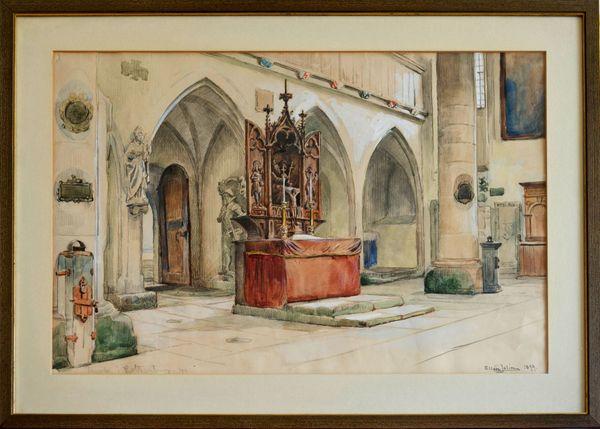 Meister-Aquarell ELLEN JOLIN 1854 Franziskanerkirche