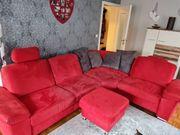 Verkaufe rote Wohnlandschaft inkl Hocker