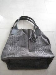 Handtasche Leder grau