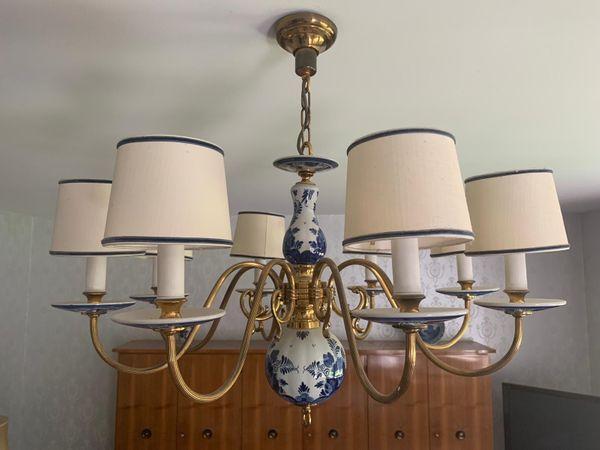Delfter Lampe Porzellan Deckenleuchte In KronleuchterMessing Mit uXZiPk