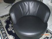 Drehsessel Leder schwarz mit Sternfuß