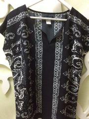 Tunika schwarz mit weißen Muster