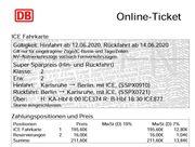 Bahnfahrkarte ICE Ticket KARLSRUHE - BERLIN