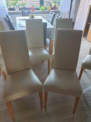 6 Kunstleder Stühle Beige