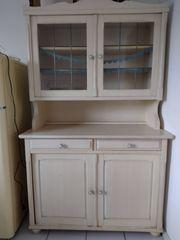 Küchenschrank 2-teilig Holz weiß lackiert