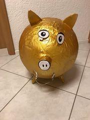 Pappmaschee Sparschwein Gold Geburtstag Hochzeit