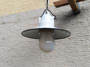 Vintage Fabriklampe Werkstattlampe Emailschirmlampe weiß