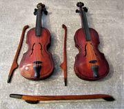 2 Geigen Puppenstube Holz mit
