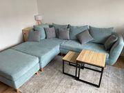 Neuwertige Couch Sofa Ecksofa blaugrau