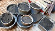 mehrere Kübel Kohle lose Briketts