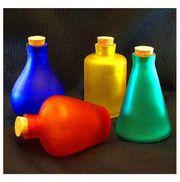 4 schöne Glas FARBFLASCHEN blau - rot
