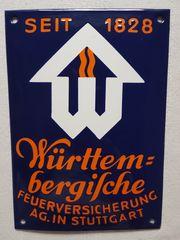 Antik Emailschild Blechschild Württembergische Feuerversicherung