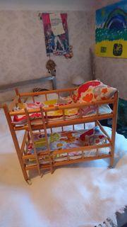 Holz Puppenbett 2-stöckig mit abnehnbaren
