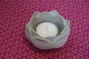 Deko Teelichthalter Blume aus Beton