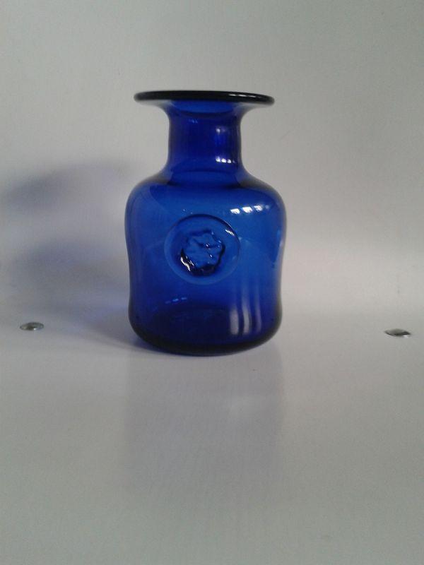 Vintage Glasvase DDR dunkelblau