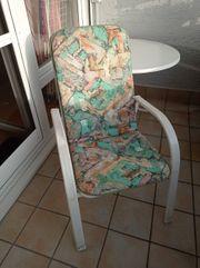Gartenstühle weiß Metall mit Polster