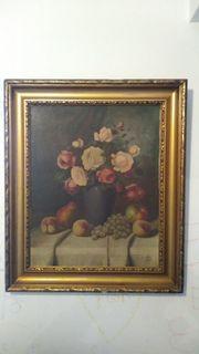 altes Ölbild mit Blumen und