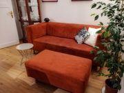 Sofa Couch dunkelrot samtartiger Bezug