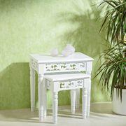 Antiker Tisch 2er Set weiß