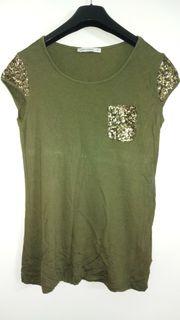 Khaki Tshirt mit Pailletten in