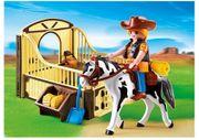 Playmobil Pferd mit braun-gelber Pferdebox