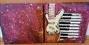 Acrylmalerei E-Gitarre zweiteilig auf Leinwand