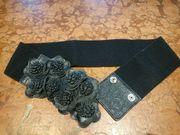 Taillengürtel Gürtel schwarz mit Gummizug